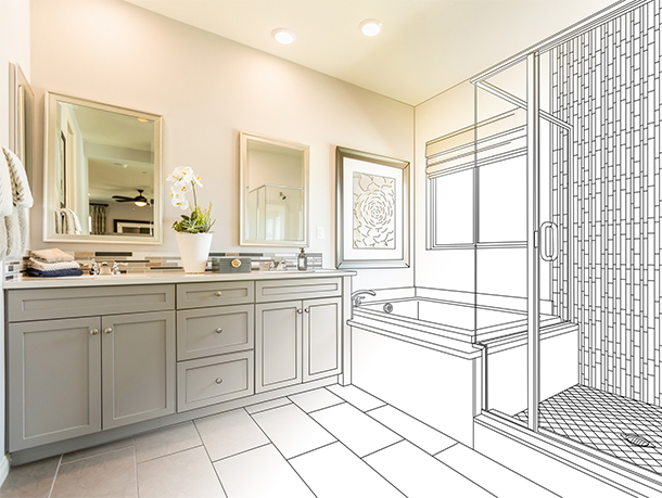 Bathroom remodel shown as blended design sketch and final photograph