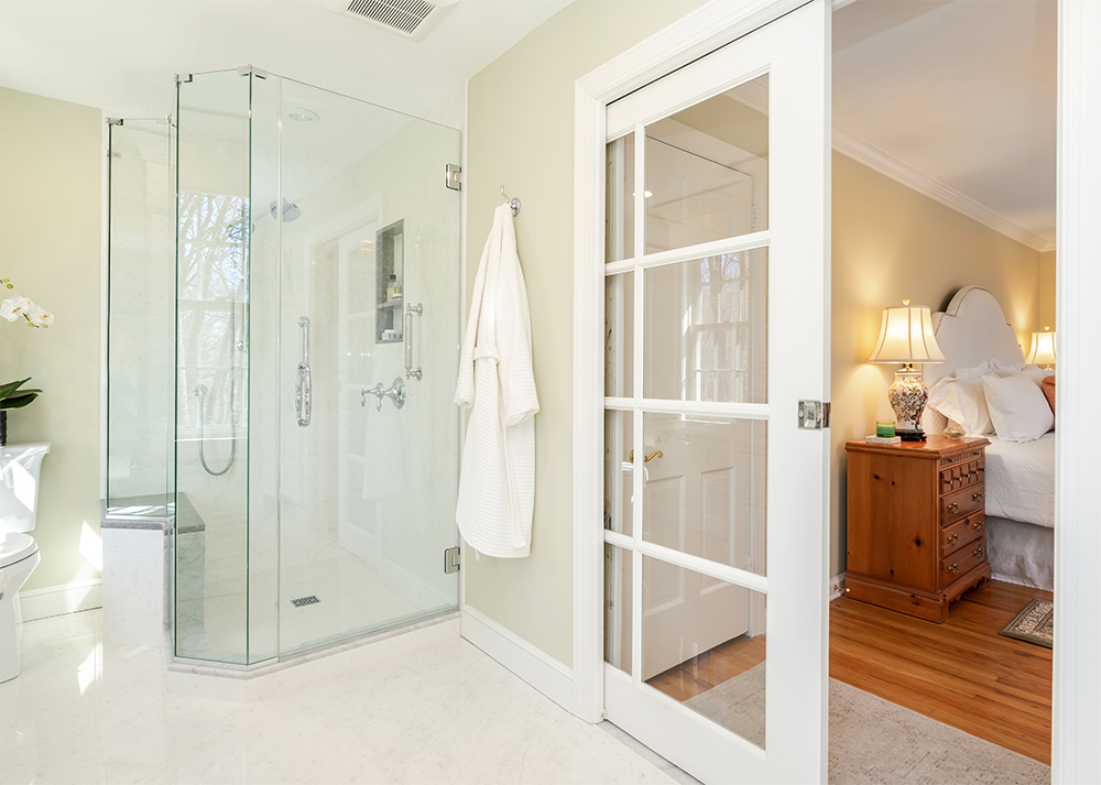 Master bathroom remodel with french doors to the bedroom